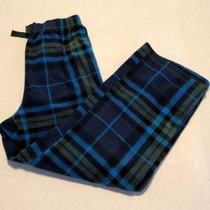 Blue plaid fleece pajama pants 10 medium